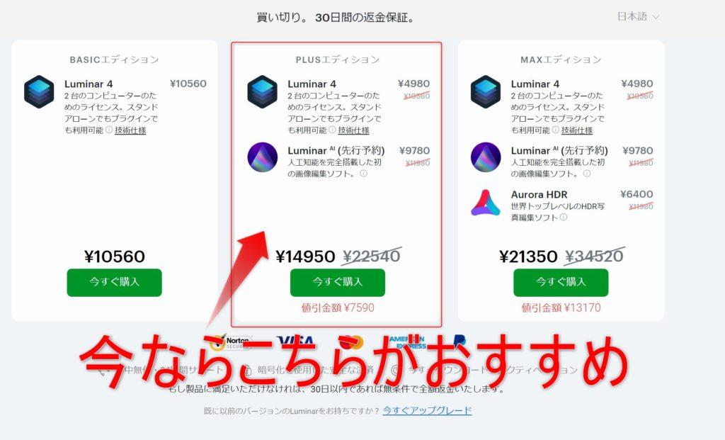 Luminar4販売画面
